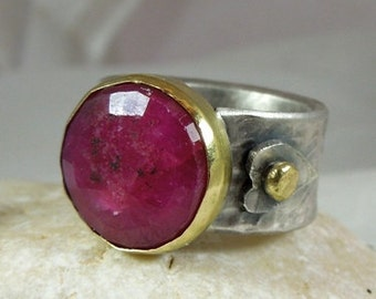 Ruby ring , solitaire ring ,18 karat gold and silver ring,  rustic style ring