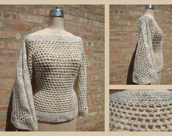 Crochet Pullover - Wheat