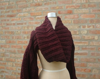 Crochet Shrug with Matching Infinity Scarf - Maroon