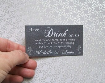 Drink or Beverage Ticket - CHALKBOARD - Customized - Personalized (set of 50)