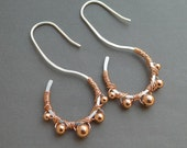 Unique Sterling Silver Earrings with Solid Copper Beads 18 gauge Mixed Metal Earrings