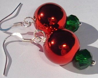 Shiny red and green Christmas holiday ornament pierced dangle hand made wire wrapped earrings affordable unique earrings