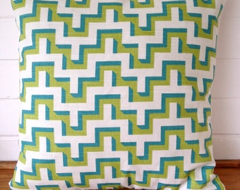 Turquoise, Lime and White Jigsaw Geometric Zig Zag Chevron Cushion Cover