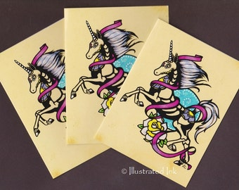 Day of the Dead UNICORN Tattoo Folded NOTE CARDS with Envelopes