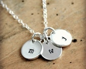 Initial necklace, hand stamped sterling silver jewelry, Personalized necklace, Initial Jewelry, Personalized Jewelry, Christmas Gift for Her