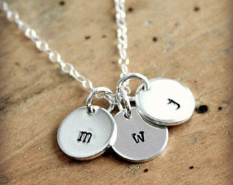 Small initial necklace - hand stamped silver jewelry