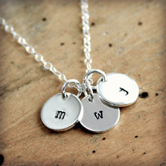 Small initial necklace hand stamped silver jewelry by for How do you make hand stamped jewelry