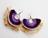 Tribal fringe earrings purple ochre ecru