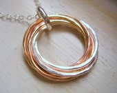 Tricolor Hammered Six Entwined Rings with Sterling Silver Chain Eternity Necklace for 60th Birthday Gift, 6th Anniversary Gift MADE TO ORDER