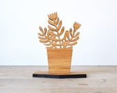Small Houseplant Wood Object - Style D