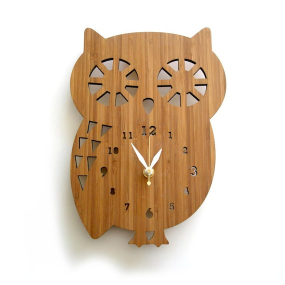 Wall Clock Owl Design : Owl wall clock nursery decor spirit animal baby shower