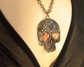 Jewelry - Frida Kahlo SKULL Pendant, Dia de Los Muertos,  Frida Necklace, Frida Jewelry, Frida Calavera necklace, Frida Kahlo, Memento Mori