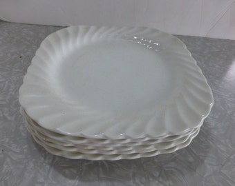 Johnson Bros Square Plate Snow White Regency Swirl