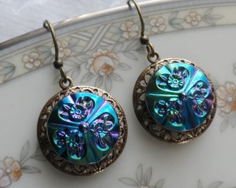 Peacock Bouquet, Vintage Glass Button Earrings with Brass Filigree