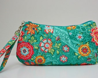 Wristlet / Heirloom in Jade green mint floral Lark collection by Amy Butler