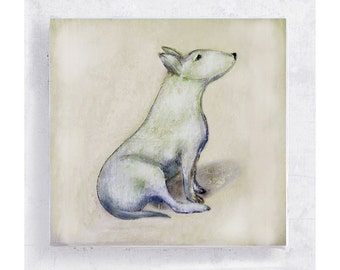 Lily Loves Me - Dog Art - Bull Terrier - Canvas Print on 5x5 Wood Frame - Dog Portrait - Kids Wall Art - Nursery Art