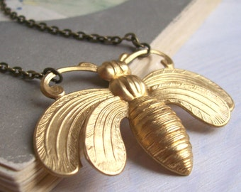 Oh Honey bee necklace - large ornate gold bee - handmade