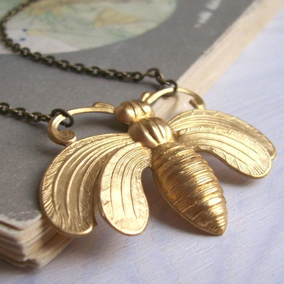 Honey Bee necklace - large ornate golden brass bee - nickel free