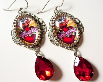 Sacred Heart earrings - Immaculate Heart Earrings - Catholic jewelry - Red Filigree - Icon Earrings - Sacred Heart jewelry - red heart