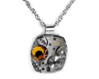 Steampunk Jewelry Necklace Vintage RARE GRUEN Watch Movement CITRINE Crystal Wedding Womens Holiday Gift - Steampunk Jewelry by edmdesigns
