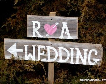 Rustic wood Wedding Signs Romantic Outdoor Weddings Hand Painted Reclaimed Wood. Rustic Weddings. Vintage Weddings. Road Signs.