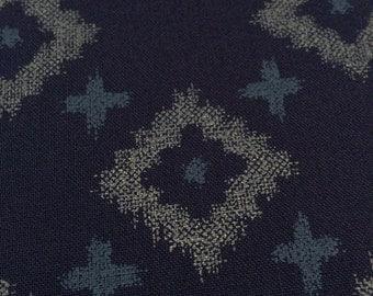 Japanese cotton fabric diamond and cross navy blue indigo gray