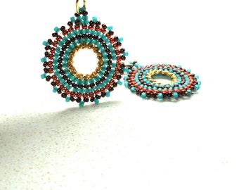 jewelry Earrings mandala circle earrings ethnic earrings bead work earrings by Artefyk