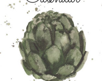 Printable Perpetual Wall Calendar -- Birthdays and Anniveraries -- Eat Your Veggies, Featuring 12 Paintings by Laurie Coyle