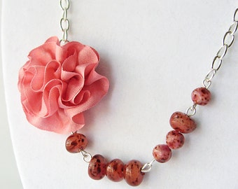 Peach silk rose necklace, wedding jewelry, bridesmaid's necklace, bridal jewelry, beaded necklace
