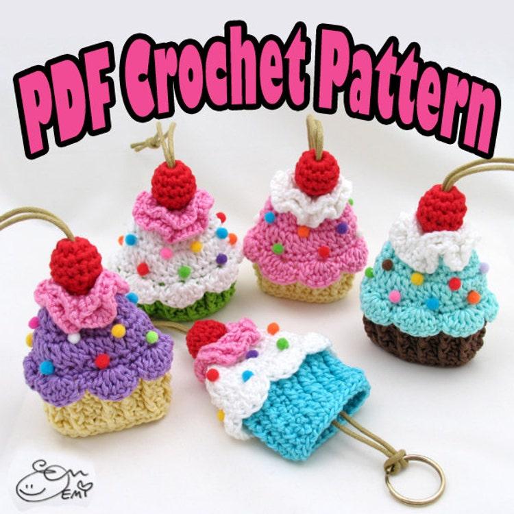 Amigurumi Cupcake Keychain : PDF Amigurumi / Crochet Pattern Cupcake Key Cozy by ennadesign