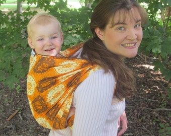 Woven Baby Wrap Linen Blend - Sizes 4 and 6 - Funky Spice - DVD included - babywearing, baby shower gift, back carrying