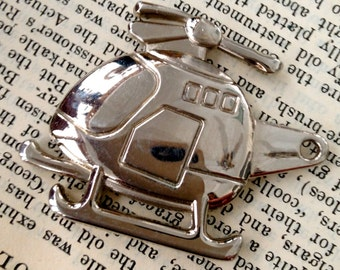 AIRPLANE helicopter   charm, pendant jewelry findings, supplies drw2