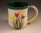 Pottery Tulip Mug/Hand Made Flower Mug/ Ceramic Mug with Tulips