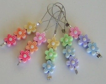 Stitch Markers FLOWERS SPRING BOUQUET Knitting Flower Set of 5 Knitting Phatfiber Sampler FeatureCrafts multicolor bead