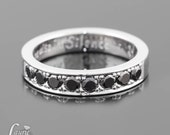 Black Diamond Ring, Unisex Black Diamond Wedding Band - 4mm wide large pave - LS1509