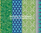 SALE! Echino Fabric Pipi Stripe in Greens / Blues by Estuko Furuya - Half Yard