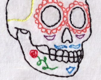 Male Day of the Dead Sugar Skull Embroidery Pattern