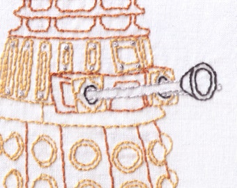 Printed Dalek Hand Embroidery Pattern, Dr Who, Doctor Who