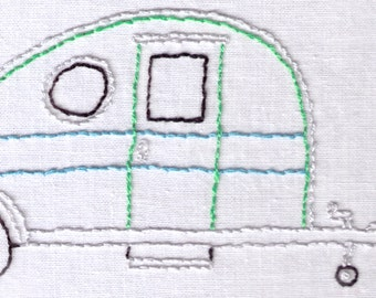 Trailer Hand Embroidery Pattern, Vintage, Teardrop, Trailer, Camper, RV, Camping, PDF