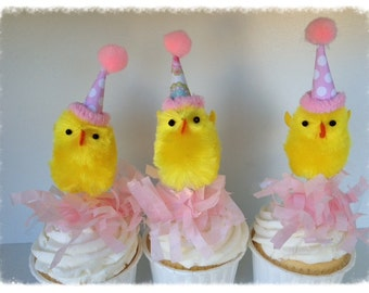 Easter Decoration Six Easter Party Chick Cupcake Toppers Easter Ornaments for Easter Cupcakes