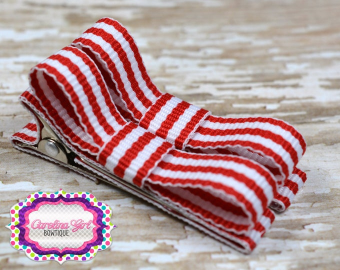 Red Striped Hair Clips Basic Tuxedo Clips Alligator Non Slip Barrettes for Babies Toddler Girl Set of 2
