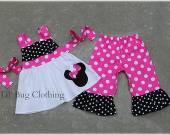 Custom Boutique Clothing Spring Summer Minnie Mouse  Jumper Top Capris Black White Dot Hot PInk