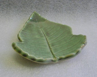 Green Handmade Pottery Leaf Trinket Tray, Spoon Rest, Soap Dish or Tea Bag Holder