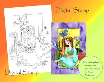Easter Surprise Digital Stamp Instant Download Spring Fairy Line art for Art and Crafts Easter Fairy Printable Easter Art Printable Fairy