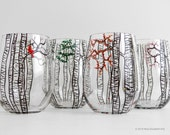 The Four Seasons Birch Tree Collection - 4 Personalized Stemless Wine Glasses in Winter, Spring, Summer and Fall
