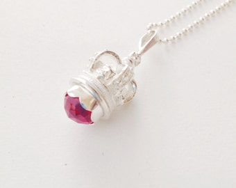 Royal crown and ruby sterling necklace