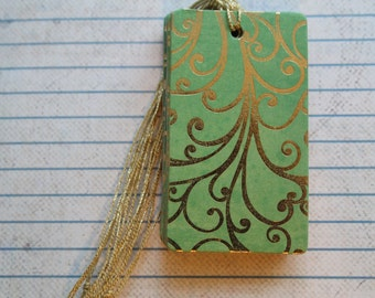 24 Handmade gift tags elegant gold swirl on green patterned paper over chipboard tags