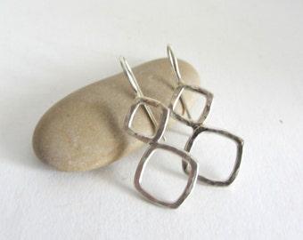 Sterling Silver Earrings - Silver Hammered Earrings - Silver Square Earrings - Silver Diamond Earrings - SIlver Drop Earrings
