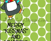 Merry Kissmas or Merry Christmas and Chappy New Year - gift digital tag