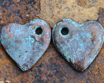 4 Mykonos Greek Casting Green Patina Heart Cornflake Dangle Beads